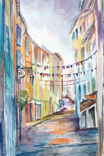 Fototapeta Ręcznie malowany akwarelą widok ulicy  w Prowansji we Francji obraz