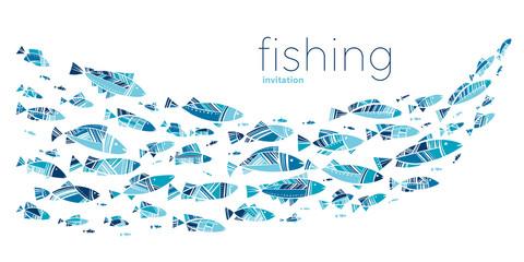 Blue school fish on white background
