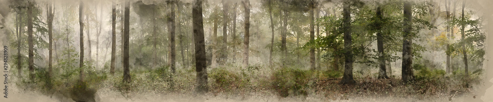 Fototapeta Digital watercolor painting of Panorama landscape image of Wendover Woods on foggy Autumn Morning.