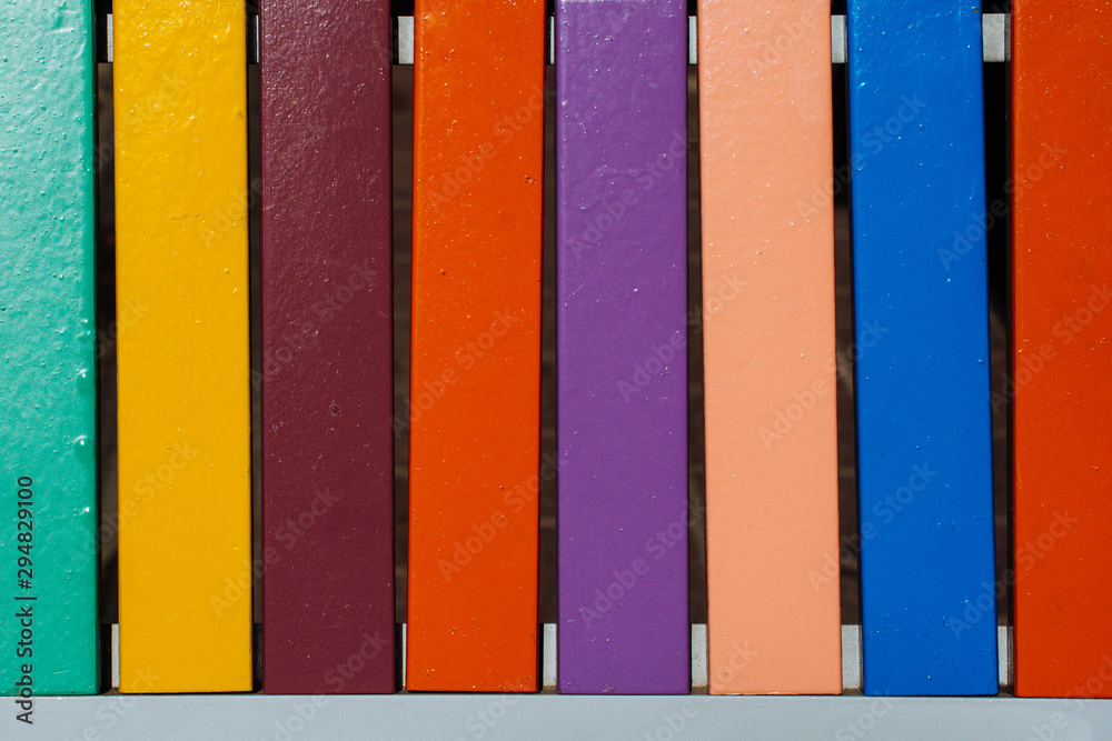 Fototapety, obrazy: Colorful grunge wood boards, planks patterns on weathered  background