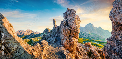 Cadres-photo bureau Beige Colorful summer sunrise in rocky mountain valley. Fantastic morning scene of Tre Cime di Lavaredo National park with Laghi del Piani lakes, Dolomiti Alps, South Tyrol, Italy, Europe.