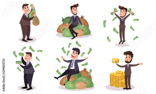 Obraz na plátně Vector Illustrations Set Concept Of Obsession Of Money Vector Cartoon Character
