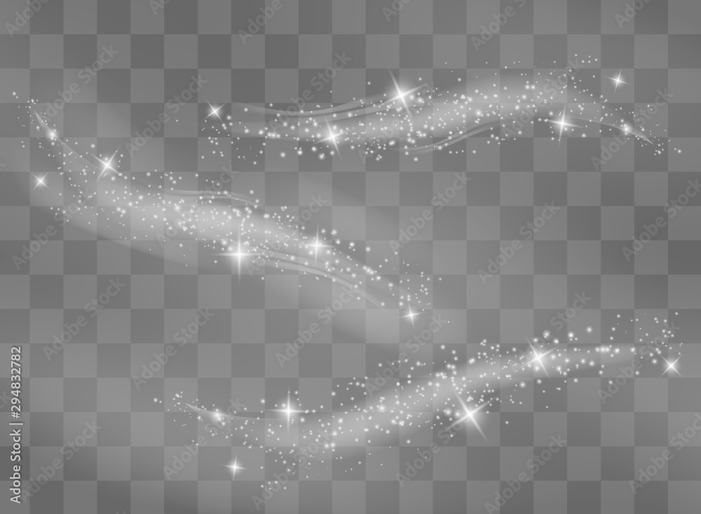 Fototapeta Snow and wind on a transparent background. White gradient decorative element.vector illustration. winter and snow with fog. wind and fog.