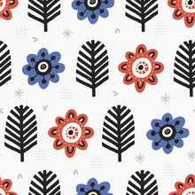 Aster Blossoms Flat Color Vector Seamless Pattern. Cartoon Plants On White Background. Hand Drawn Red And Blue Vintage Flowers Illustration. Textile, Wallpaper, Wrapping Paper Design Idea