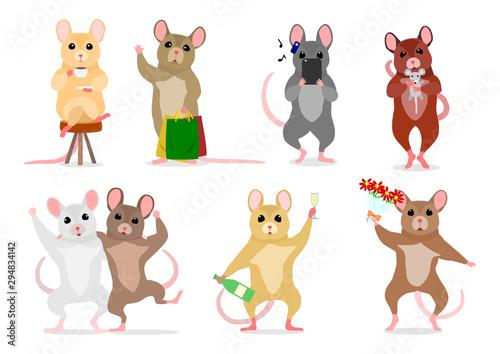 set of cute man like mice Canvas Print