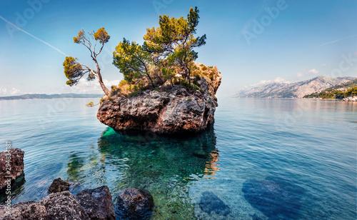 Foto auf AluDibond Südeuropa Fabulou morning view of famous Brela stone. Picturesque summer seascape of Adriatic sea, Dalmatian coast, Croatia, Europe. Beautiful world of Mediterranean countries. iiiiiiiiiiiiiiiiiiiiiiiiiiiiiiii