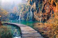 Amazing Morning View Of Pure Water Waterfall In Plitvice National Park. Marvelous Autumn Scene Of Croatia, Europe. Beauty Of Nature Concept Background.