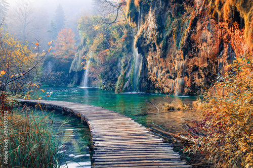 Amazing morning view of pure water waterfall in Plitvice National Park. Marvelous autumn scene of Croatia, Europe. Beauty of nature concept background. - 294835932