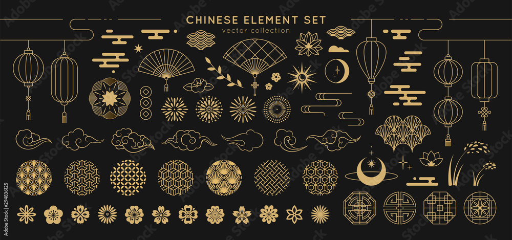 Fototapety, obrazy: Asian design element set. Vector decorative collection of patterns, lanterns, flowers , clouds, ornaments in chinese and japanese style.