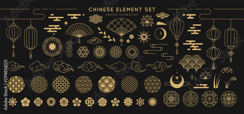 Obraz Asian design element set. Vector decorative collection of patterns, lanterns, flowers , clouds, ornaments in chinese and japanese style. - fototapety do salonu