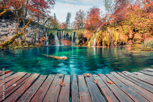 Recess Fitting Forest river Amazing morning view of pure water waterfall in Plitvice National Park. Picturesque autumn scene of Croatia, Europe. Beauty of nature concept background.