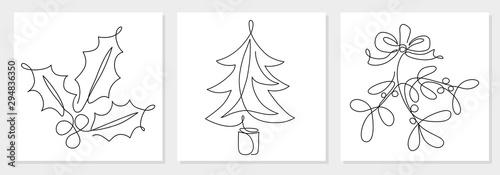 Fototapeta One line drawing Christmas tree, mistletoe, holly berry leaves