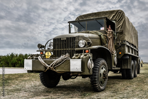 military vehicle of his second world war in close up
