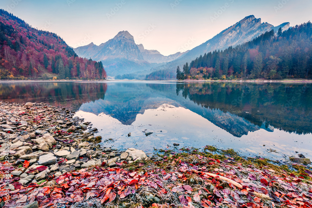 Fototapety, obrazy: Splendid autumn sunrise on Obersee lake, Nafels village location. Misty morning scene of Swiss Alps, canton of Glarus in Switzerland, Europe. Beauty of nature concept background.