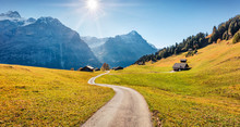 Amazing Autumn View Of Grindelwald Village Valley. Sunny Morning Scene Of Bernese Oberland Alps, Switzerland, Europe. Beauty Of Countryside Concept Background..