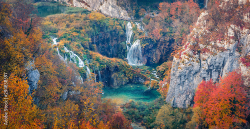 Poster Forest river Panoramic morning view of pure water waterfall in dyyp canyon. Awesome autumn scene of Plitvice National Park, Croatia, Europe. Beauty of nature concept background.