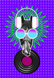 canvas print picture - Horse with headphones and glasses as a concept of music lover contemporary art collage with 3D illustration elements