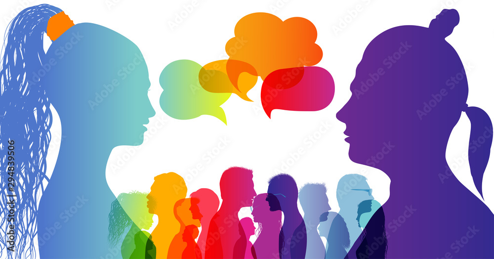 Dialogue group of diverse people. Communication between people. Crowd talking. Silhouette profiles. Rainbow colours. Speech bubble.Dialogue different cultures. Interview