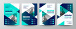 modern blue and green design template for poster flyer brochure cover. Graphic design layout with triangle graphic elements and space for photo background