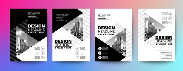 black and white design template for poster flyer brochure cover. Graphic design layout with triangle graphic elements and space for photo background