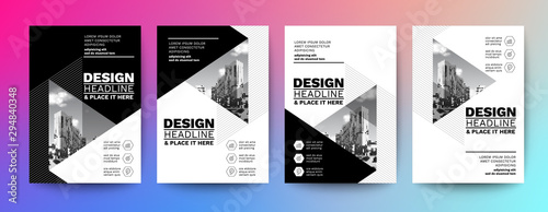 Obraz black and white design template for poster flyer brochure cover. Graphic design layout with triangle graphic elements and space for photo background - fototapety do salonu