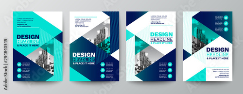 Photo modern blue and green design template for poster flyer brochure cover