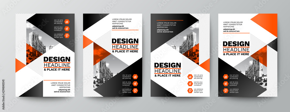 Fototapeta modern orange and black design template for poster flyer brochure cover. Graphic design layout with triangle graphic elements and space for photo background
