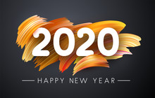 2020 New Year Festive Background With Colorful Brush Strokes.