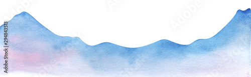 Mountain range silhouette. Watercolor shape of the mountains. Decorative element for page design. Blue mountains with smooth peaks. Gradient from blue to pink. Mountain border. Drawn by hands