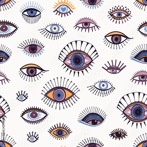 Tapeta fioletowa  eyes-abstract-pattern-hand-drawn-doodle-print-design-elements-ink-colorful-drawn-eye-vector