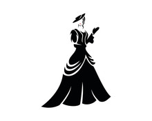 Old Fashion With A Lady Dressed Victorian Dress Silhouette