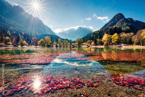 Obraz Niewiarygodny poranny widok na jezioro Jasna - fototapety do salonu