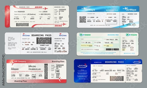 Fotomural  Boarding pass and plane ticket, vector mockups