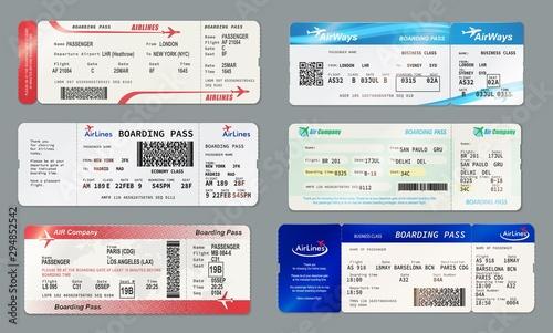 Fotografía Boarding pass and plane ticket, vector mockups