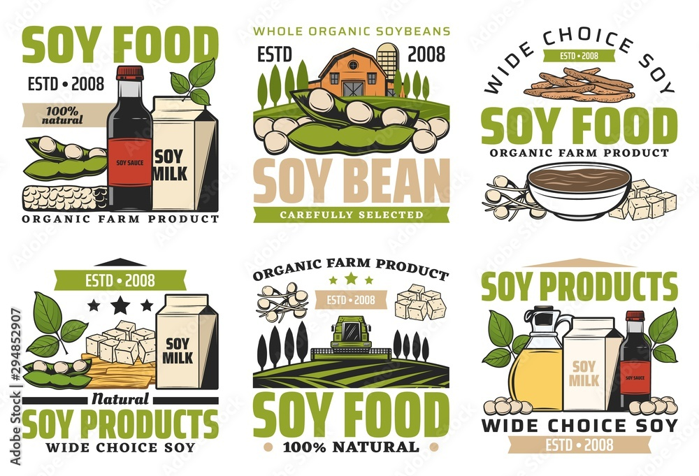 Fototapety, obrazy: Soy beans food. Milk, meat, sauce icons