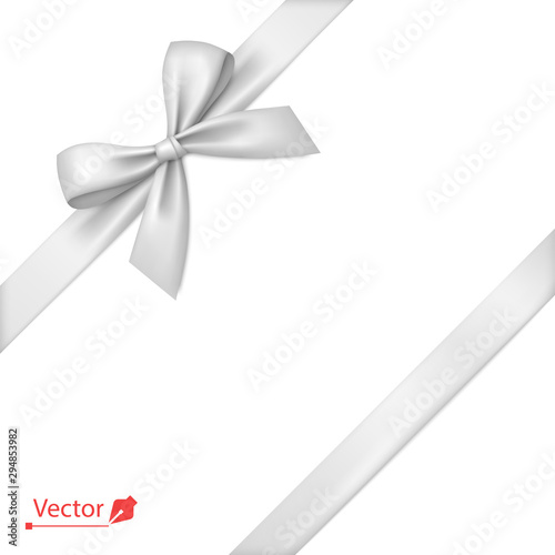 Obraz White bow with diagonally ribbon on the corner. Vector bow for page decor, gifts, greetings, holidays. - fototapety do salonu