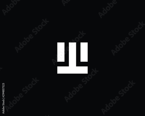Trendy and Minimalist Letter WT UT TU TW Logo Design in Black and White Color , Wallpaper Mural