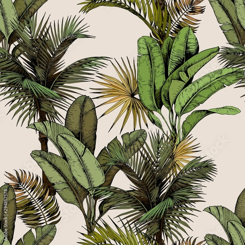 Seamless pattern with green tropical palm and banana leaves. Hand drawn vector illustration on beige background.