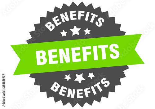 Fototapeta benefits sign. benefits green-black circular band label obraz