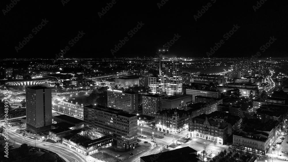 Fototapety, obrazy: Katowice- Wieczorna panorama miasta