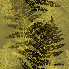 Fototapetaimprints fern leaves mix repeat seamless pattern. digital hand drawn picture with watercolour texture. mixed media