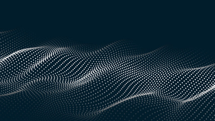 Abstract digital wave of particles. Futuristic point wave. Technology background vector. Vector illustration