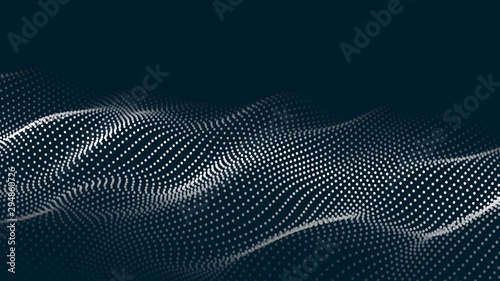 Obraz Abstract digital wave of particles. Futuristic point wave. Technology background vector. Vector illustration - fototapety do salonu