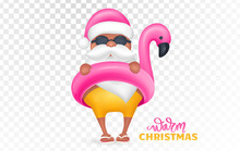 Santa Claus Wearing Flamingo Swim Ring. Tropical Christmas. Vector Illustration.