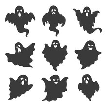 Vector Set Of Ghosts On White ...