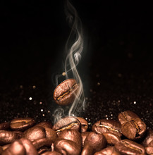 Roasted Coffee Beans. Seeds Of...