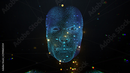 Obraz 3d render of abstract face analysis. Biometric identification scan concept.  Authentication technology. - fototapety do salonu