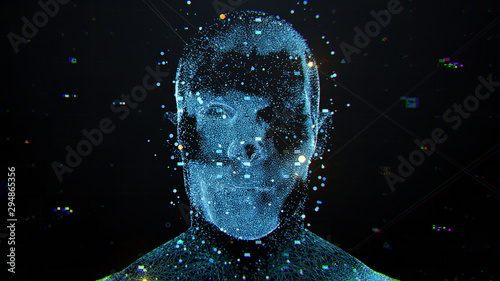 3d render of abstract face analysis Canvas Print