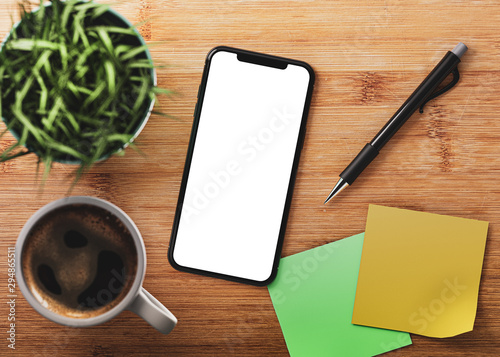 Smartphone frame less blank screen isolated on wooden bamboo table with grass fl Canvas Print