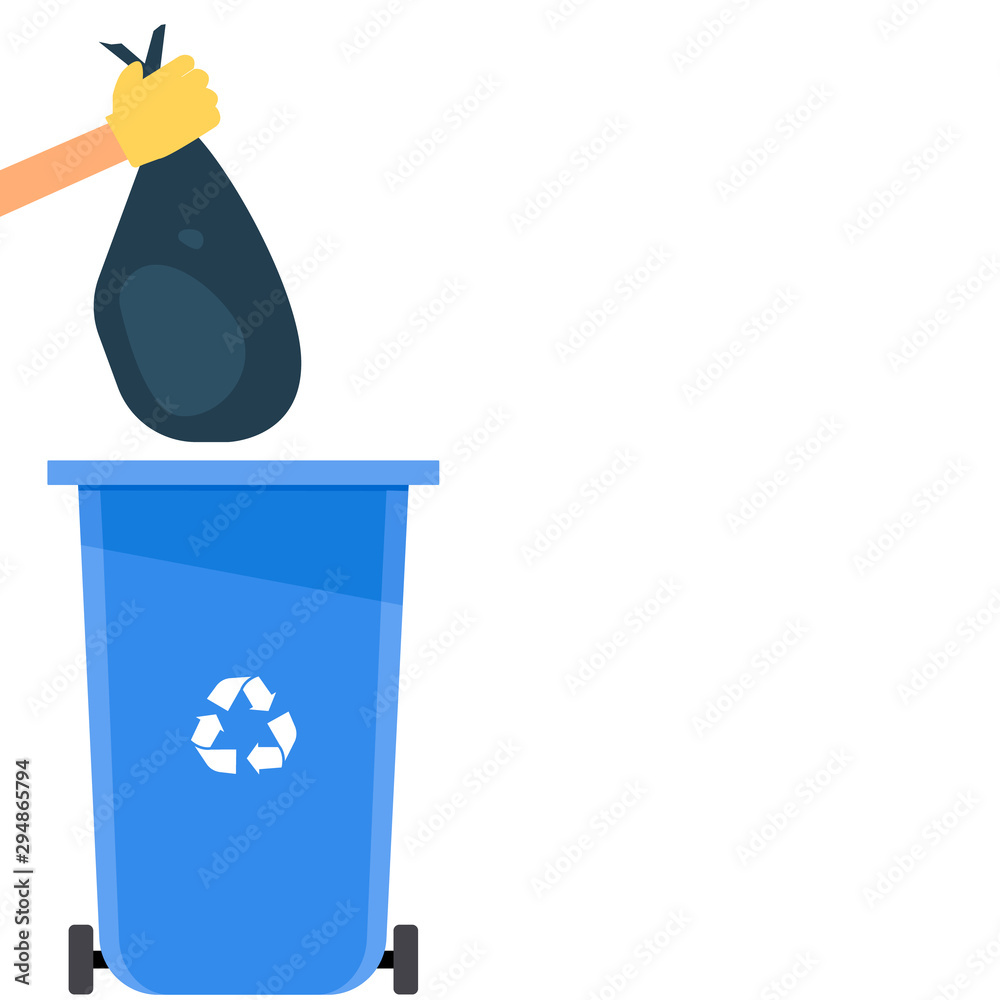 Fototapeta Gloved hand throws a full trash bag into a trash can. Vector illustration